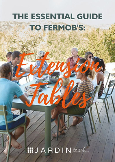 Our guide to Fermob's extending outdoor tables. All products available in New Zealand from Jardin.