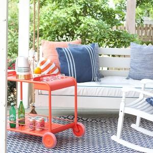 Loaded and ready to serve, the Luxembourg Bar Trolley makes the perfect porch companion.