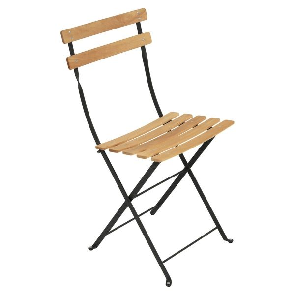 Fermob Bistro Folding Chair - Natural Slats in Liquorice