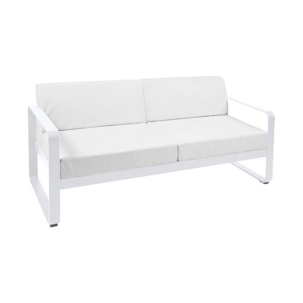 Fermob Bellevie 2 Seat Sofa - Off White Cushions in Cotton White