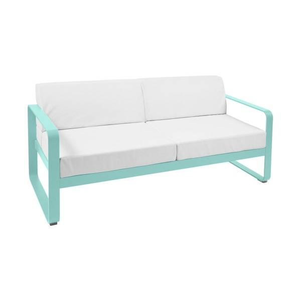 Fermob Bellevie 2 Seat Sofa - Off White Cushions in Lagoon Blue
