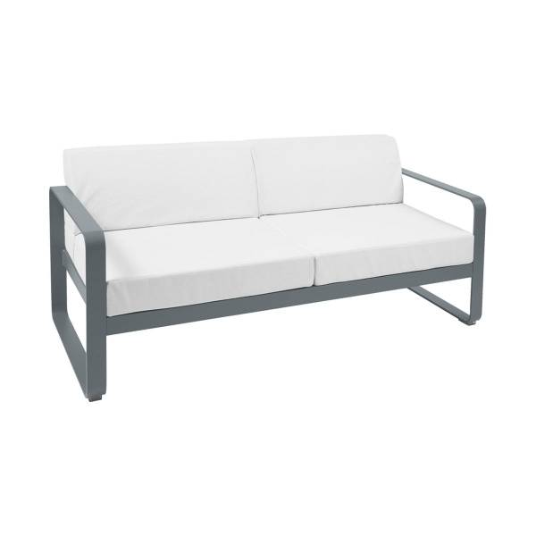 Fermob Bellevie 2 Seat Sofa - Off White Cushions in Storm Grey