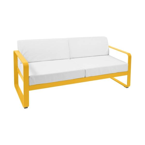 Fermob Bellevie 2 Seat Sofa - Off White Cushions in Honey