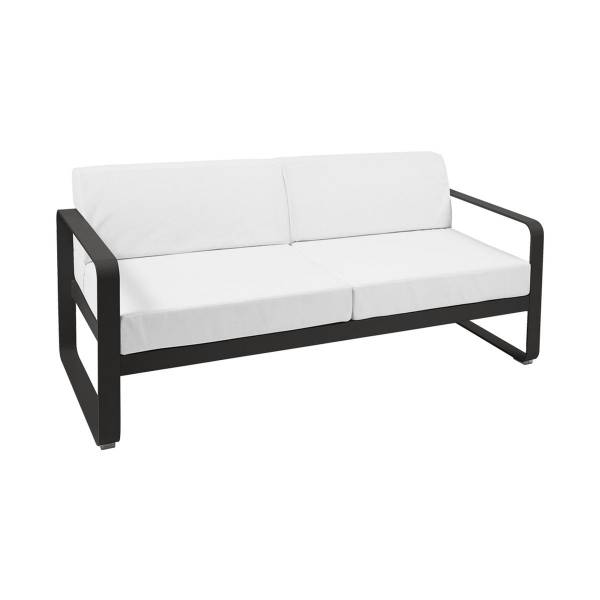 Fermob Bellevie 2 Seat Sofa - Off White Cushions in Liquorice