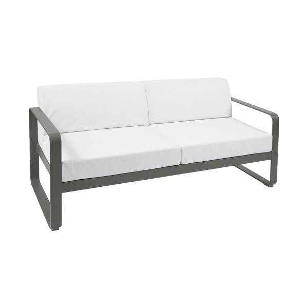 Fermob Bellevie 2 Seat Sofa - Off White Cushions in Rosemary
