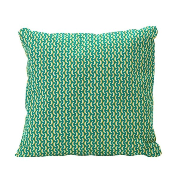 Bananes Cushion 70 x 70cm in colour Turquoise from the Envie D'Ailleurs Range collection