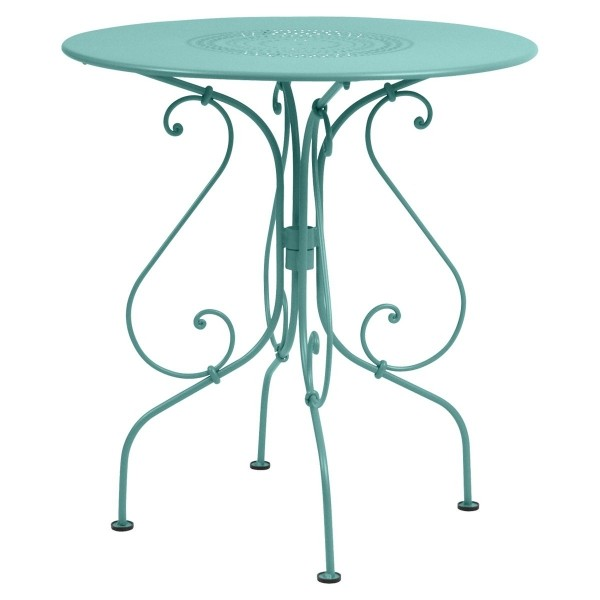 Fermob 1900 Table Round 67cm in Lagoon Blue