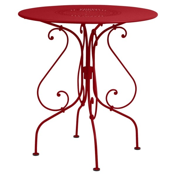 Fermob 1900 Table Round 67cm in Poppy