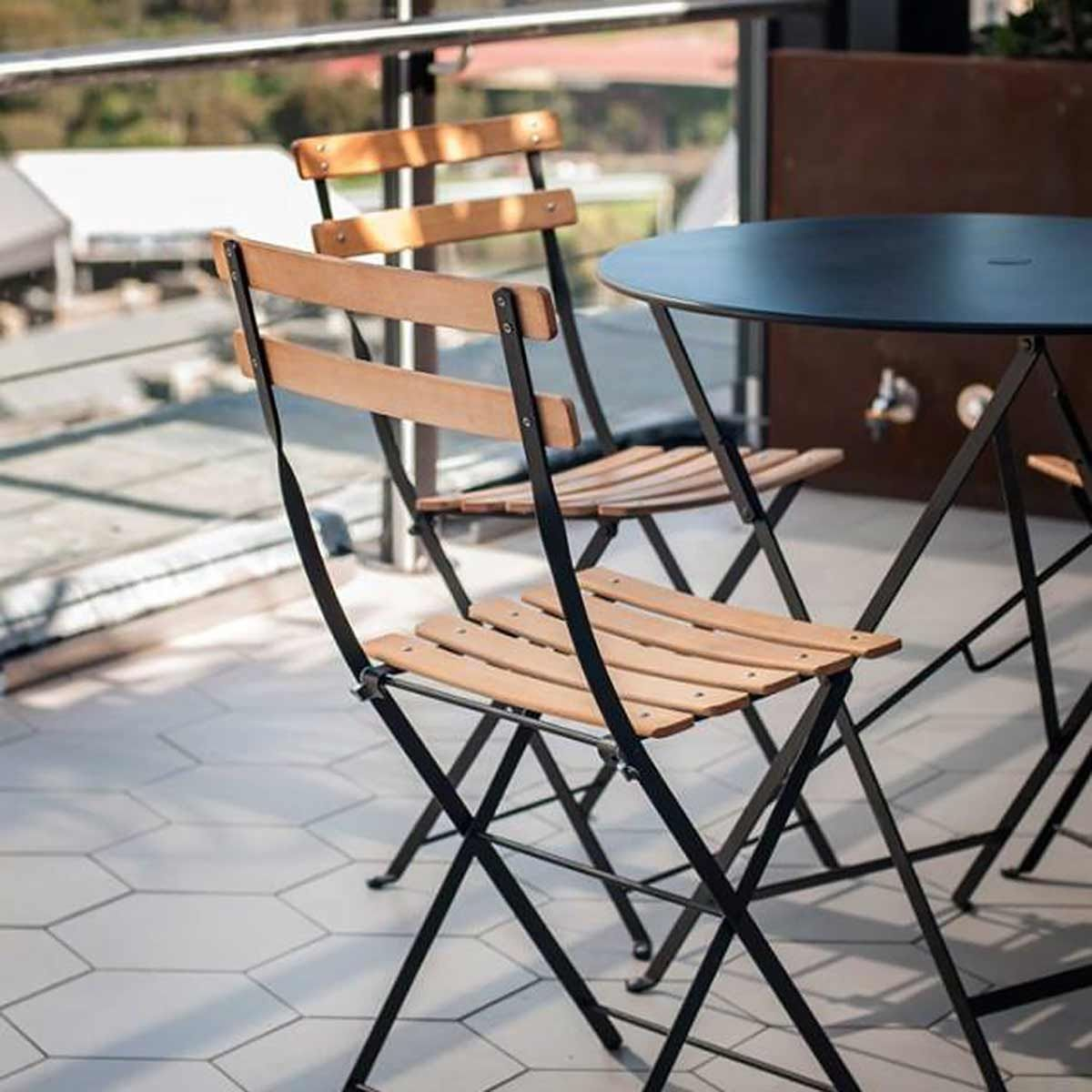 Bistro Folding Chair Natural Slats Bistro Range