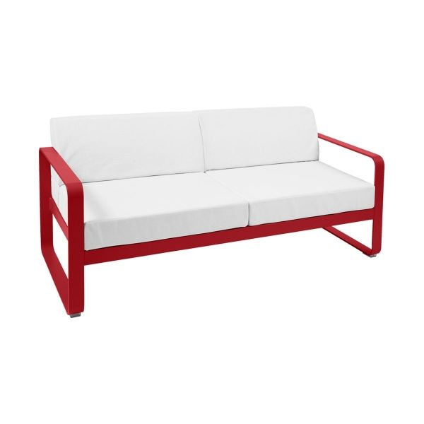 Fermob Bellevie 2 Seat Sofa - Off White Cushions in Poppy