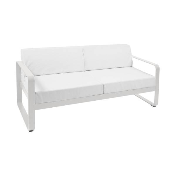 Fermob Bellevie 2 Seat Sofa - Off White Cushions in Steel Grey