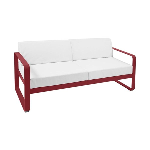 Fermob Bellevie 2 Seat Sofa - Off White Cushions in Chilli
