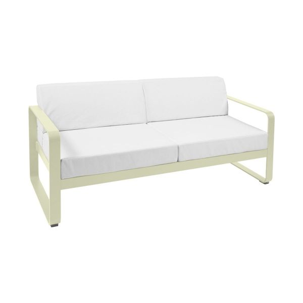 Fermob Bellevie 2 Seat Sofa - Off White Cushions in Willow Green