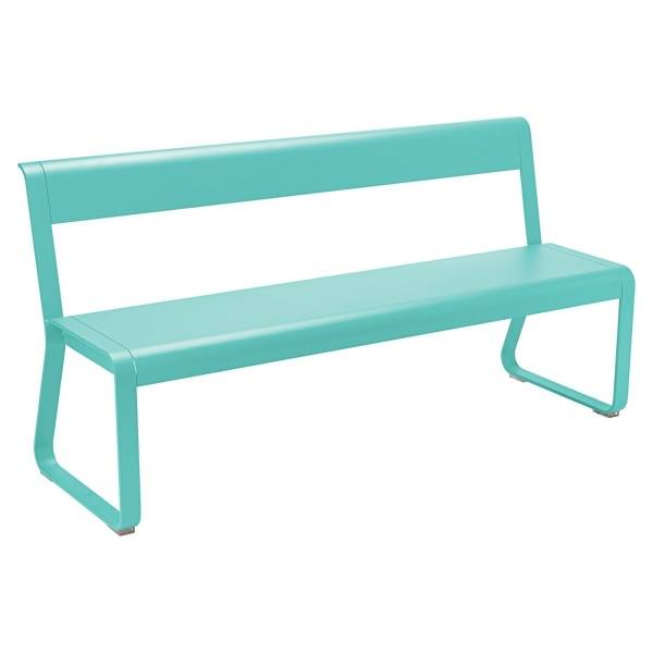 Fermob Bellevie Bench with Back in Lagoon Blue
