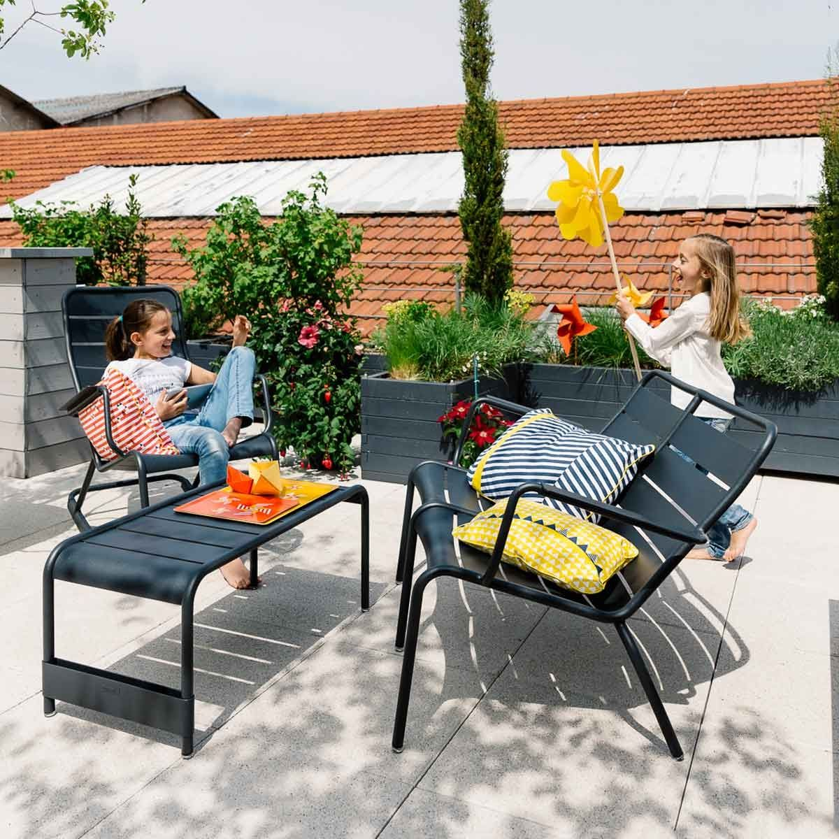 Luxembourg large low table and garden bench from luxembourg modern outdoor furniture