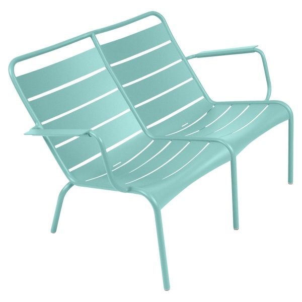 Fermob Luxembourg Low Armchair Duo in Lagoon Blue