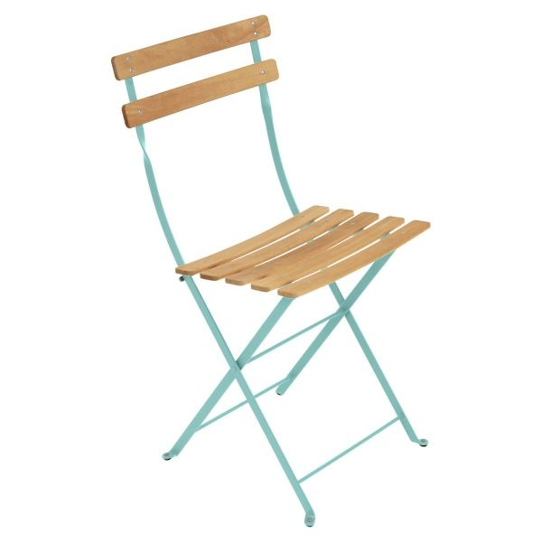 Fermob Bistro Folding Chair - Natural Slats in Lagoon Blue
