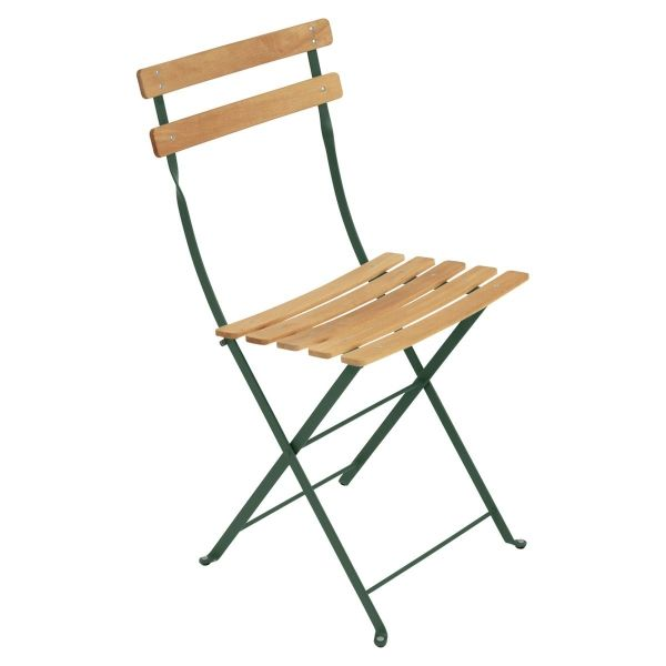 Fermob Bistro Folding Chair - Natural Slats in Cedar Green