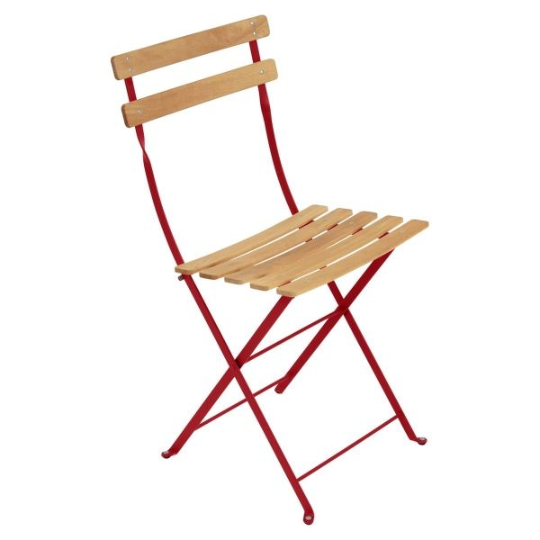 Fermob Bistro Folding Chair - Natural Slats in Poppy