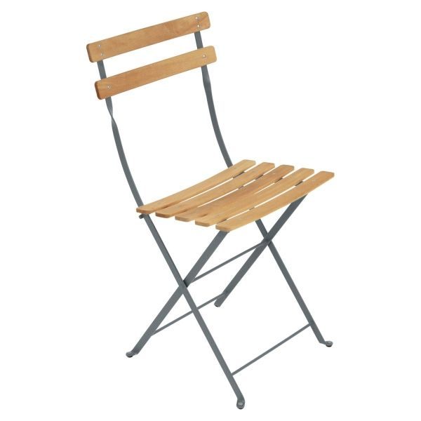 Fermob Bistro Folding Chair - Natural Slats in Storm Grey