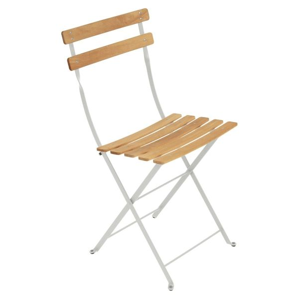 Fermob Bistro Folding Chair - Natural Slats in Steel Grey