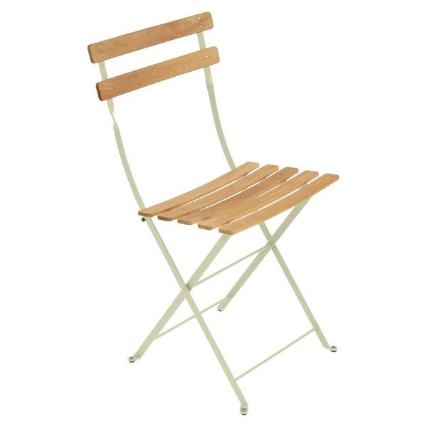Fermob Bistro Folding Chair - Natural Slats in Willow Green