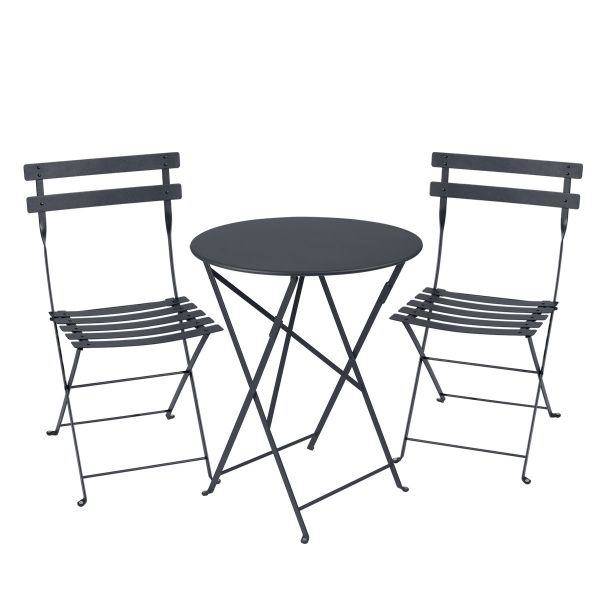Fermob Bistro Set - 60cm Table and 2 Chairs in Anthracite