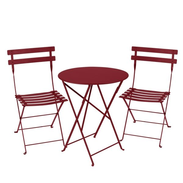 Fermob Bistro Set - 60cm Table and 2 Chairs in Chilli