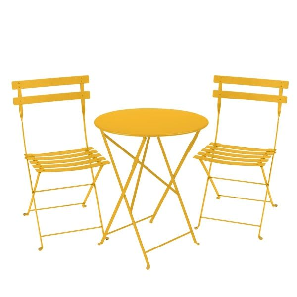 Fermob Bistro Set - 60cm Table and 2 Chairs in Honey