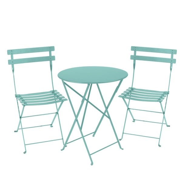 Fermob Bistro Set - 60cm Table and 2 Chairs in Lagoon Blue