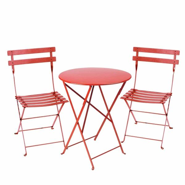 Fermob Bistro Set - 60cm Table and 2 Chairs in Poppy