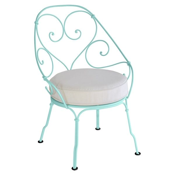 Fermob 1900 Cabriolet Armchair - Off White Cushions in Lagoon Blue