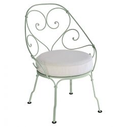 1900 Cabriolet Armchair - Off White Cushions in colour Lagoon Blue from 1900 Garden Furniture