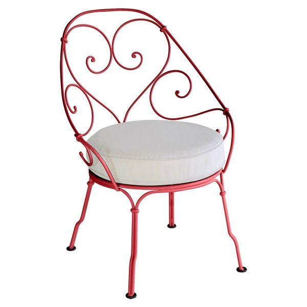 Fermob 1900 Cabriolet Armchair - Off White Cushions in Poppy