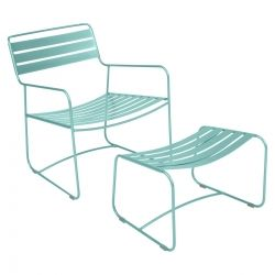 Surprising Outdoor Lounge chair with foot stool in colour Lagoon Blue from Surprising Collection