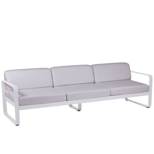 Fermob Bellevie 3 Seat Sofa - Off White Cushions in Cotton White
