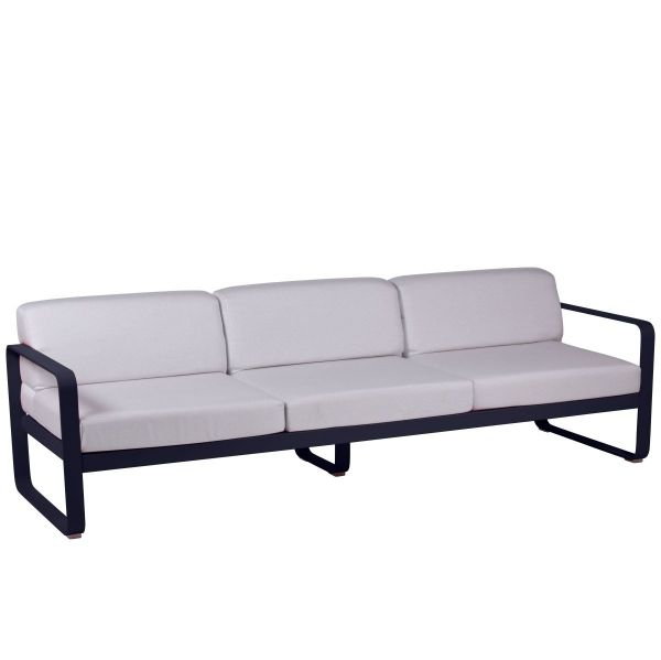 Fermob Bellevie 3 Seat Sofa - Off White Cushions in Deep Blue