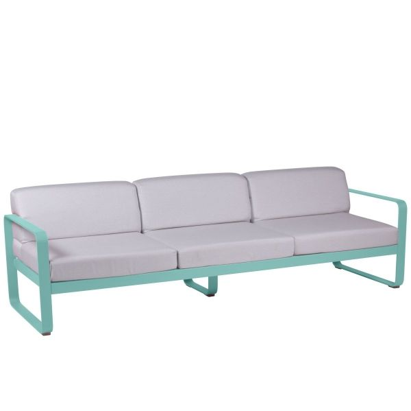 Fermob Bellevie 3 Seat Sofa - Off White Cushions in Lagoon Blue