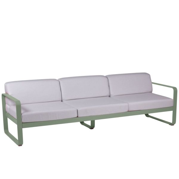 Fermob Bellevie 3 Seat Sofa - Off White Cushions in Cactus