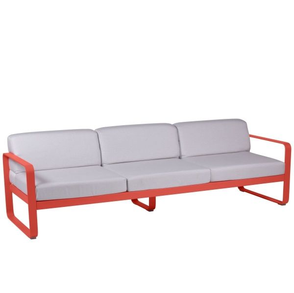 Fermob Bellevie 3 Seat Sofa - Off White Cushions in Capucine