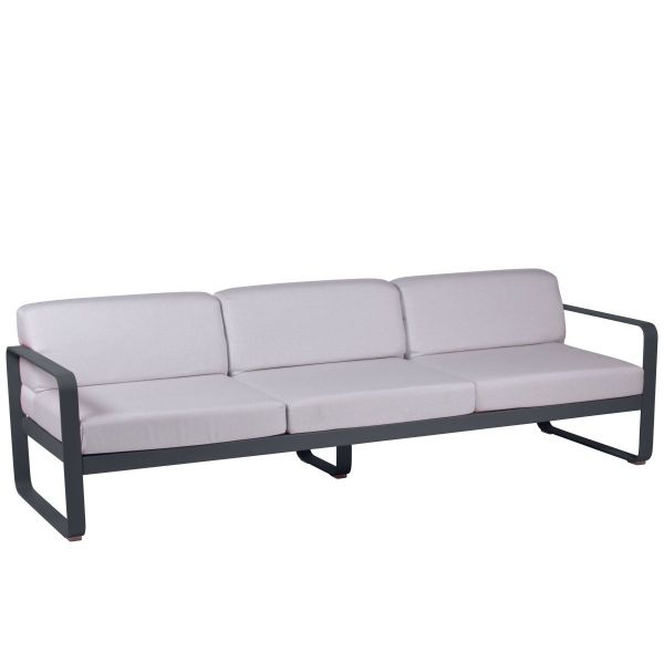 Fermob Bellevie 3 Seat Sofa - Off White Cushions in Anthracite
