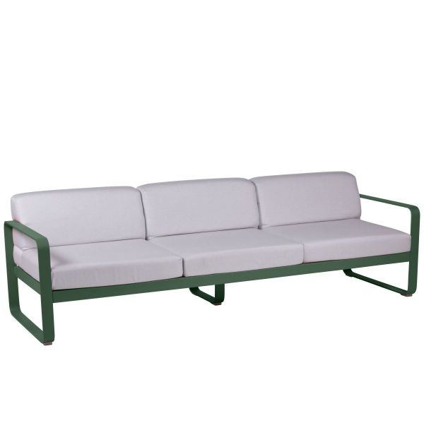 Fermob Bellevie 3 Seat Sofa - Off White Cushions in Cedar Green