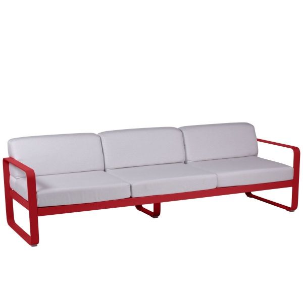 Fermob Bellevie 3 Seat Sofa - Off White Cushions in Poppy