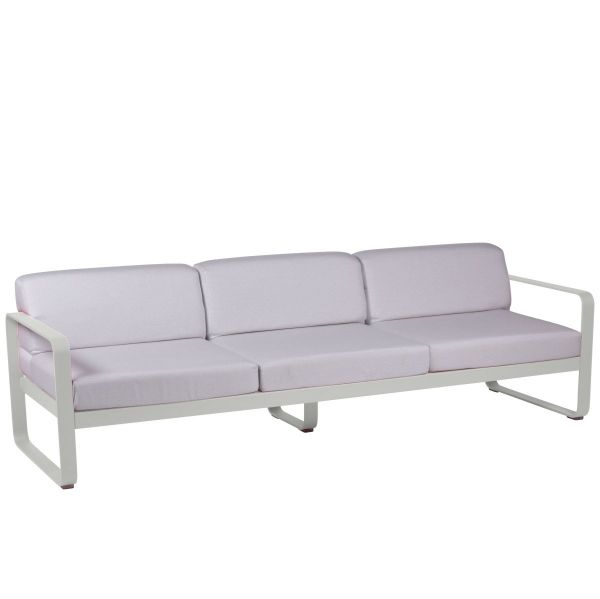 Fermob Bellevie 3 Seat Sofa - Off White Cushions in Steel Grey