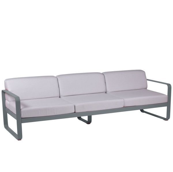 Fermob Bellevie 3 Seat Sofa - Off White Cushions in Storm Grey