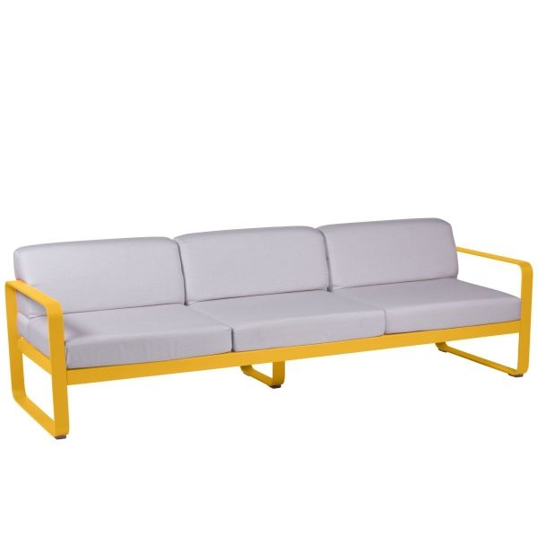 Fermob Bellevie 3 Seat Sofa - Off White Cushions in Honey