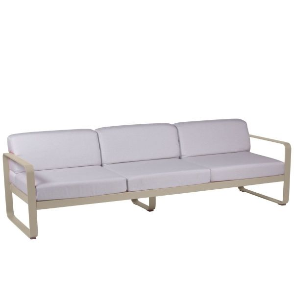 Fermob Bellevie 3 Seat Sofa - Off White Cushions in Nutmeg
