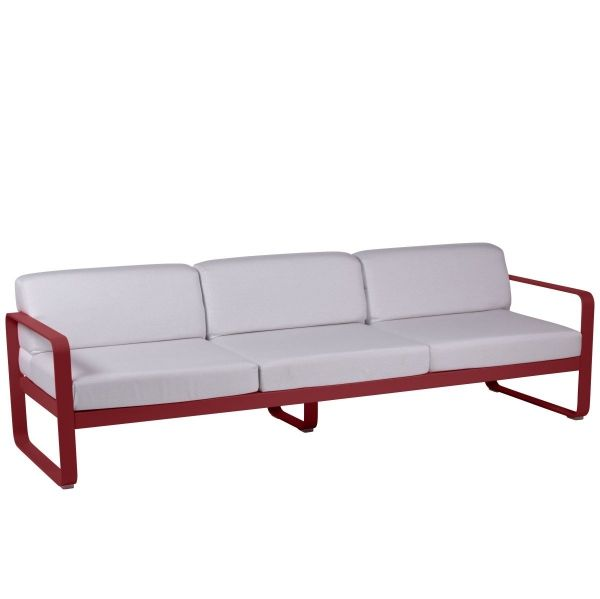 Fermob Bellevie 3 Seat Sofa - Off White Cushions in Chilli