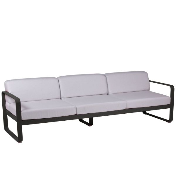 Fermob Bellevie 3 Seat Sofa - Off White Cushions in Liquorice