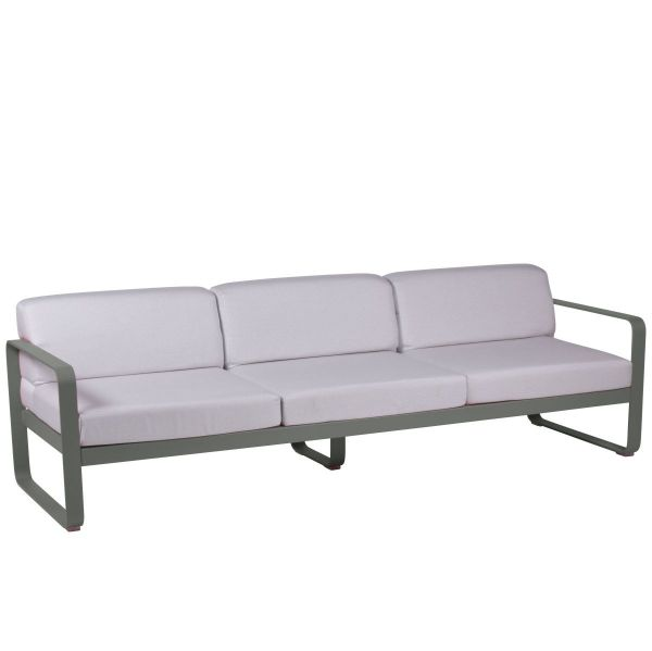 Fermob Bellevie 3 Seat Sofa - Off White Cushions in Rosemary